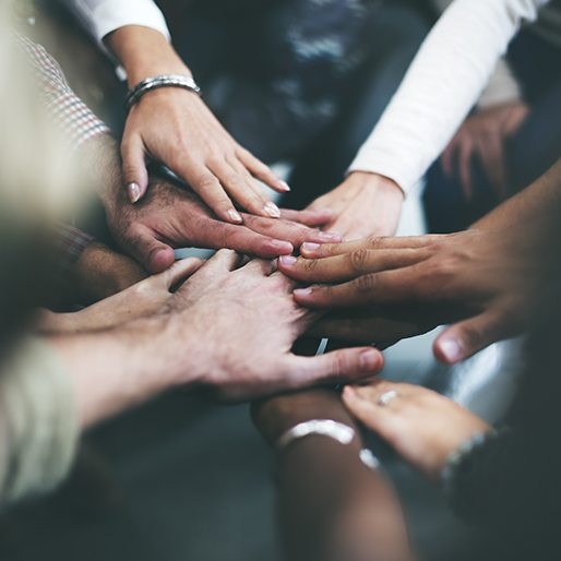 Group of people touching hands